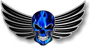 GOTHIC SKULL With Wings Motif  & Electric Blue Flames External Vinyl Car Sticker 150x80mm